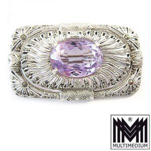 Laurin Art Deco Silber Brosche signiert Markasiten Amethyst groß silver brooch