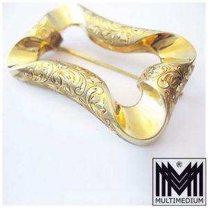 Art Deco 585 er Gold Brosche 20er Jahre ziseliert signiert GL Handarbeit Antik