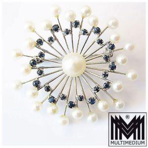 585er Weißgold Brosche Saphir Perle white gold brooch pearl sapphire