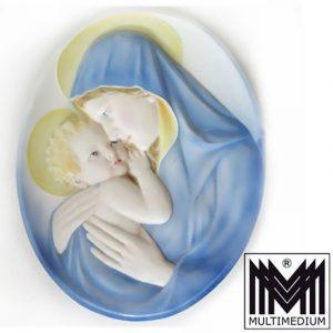 Großes Wand Bild Keramos Wien Karl Perl Liezen Keramik Maria Jesus Kind signiert