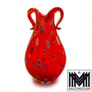 Vintage Murano Glas Vase Millefiori Murinen rot red glass