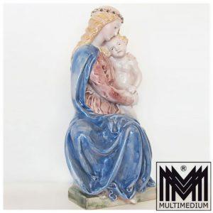 Jugendstil Majolika Keramik Maria mit Jesus Kind farbig glasiert signiert HR