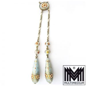 Jugendstil Silber Lavaliere Collier Emaille art nouveau silver enamel necklace