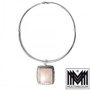 XXL Rosenquarz Silber Anhänger Halsreif Art Deco Stil silver pendant