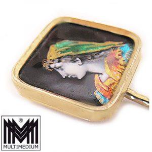 Jugendstil Krawattennadel Silber verg. Emaille Malerei tie pin 1900 silver gilt