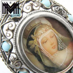 Jugendstil Silber Brosche Miniatur e Malerei art nouveau silver brooch painting