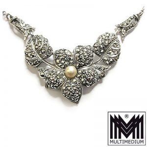 Art Deco Silber Collier Hals kette 30er Jahre Markasit silver necklace 30s