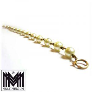 Gold Perlen Armband Arm kette 585 pearl gold bracelet