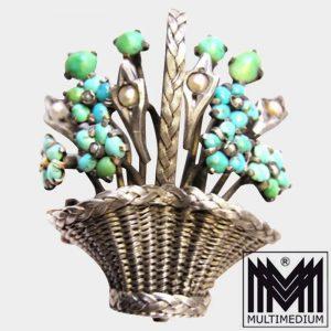 Antike Biedermeier Silber Türkis Korb Brosche Saatperlen um 1860 turquoise seed pearls