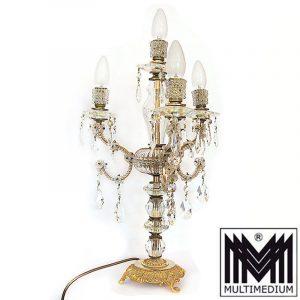 Murano Tischlampe Messing Lampe Kristall Glas geschliffen 50er 70er