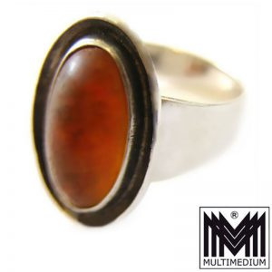 N.E Nils Erik FROM Denmark Silber Ring Bernstein amber silver ring Modernist