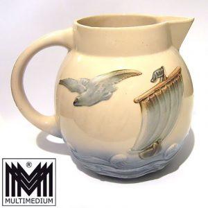 Digoin Sarreguemines Jugendstil Keramik Krug Schiff Möve Pitcher ceramic jug jar
