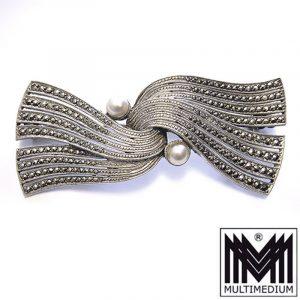 Theodor Fahrner 925 Silber Brosche Perle Markasit silver brooch pearl marcasite