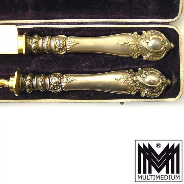 Seltenes Jugendstil bzw. Historismus Tranchier Besteck Silber um 1890