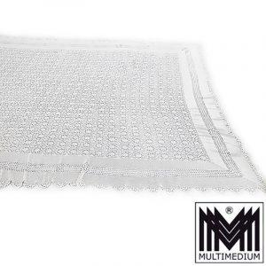 Antike Baumwolle Tischdecke Tagesdecke Vorhang gehäkelt Häkelarbeit über groß