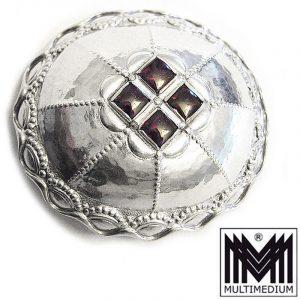 Jugendstil Silber Brosche Almandin Granat antik Hammerschlag silver brooch 1910