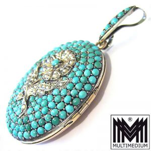 Biedermeier Silber Medaillon Anhänger Türkis Fluß perlen silver locket turquoise