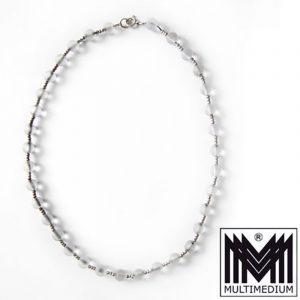 Art Deco WMF Ikora Glas Halskette mattiert Collier frosted glass necklace