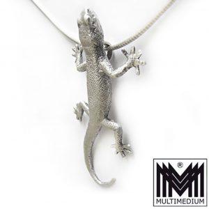 Silber Anhänger Gekko Eidechse Salamander Lurch Molch silver pendant
