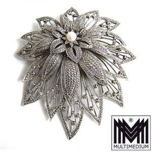 XXL Vintage Markasit Silber Brosche Blume im Art Deco silver brooch