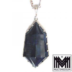 prunkvoller Art Deco Anhänger Lapis Lazuli Silber