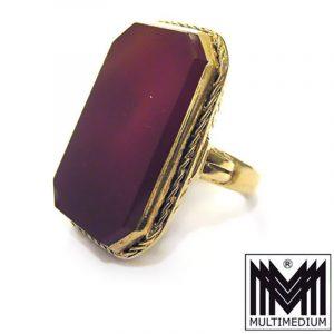 Art Deco Damen und Herren Wappen Ring Silber vergoldet Karneol silver gilt ring
