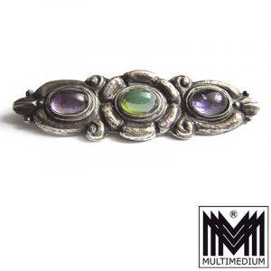 Jugendstil Silber Brosche Amethyst Peridot Arts and crafts silver brooch