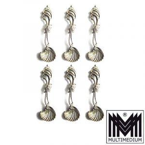 6 Salz Löffel Silber Muschel silver spoons salt shell für Gewürzschälchen selten