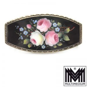 seltene Jugendstil Emaille Silber Brosche Rosen Blüte hand gemalt enamel brooch