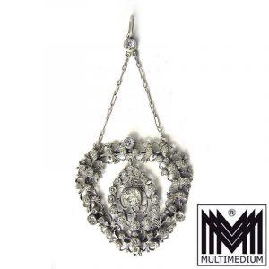 Antiker Jugendstil Silber Anhänger Straß Blumen silver pendant paste