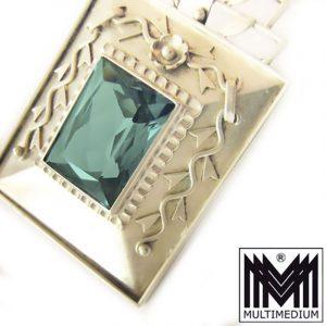 Großer Art Deco Silber Anhänger turmalin farb. Spinell silver pendant Traumstück