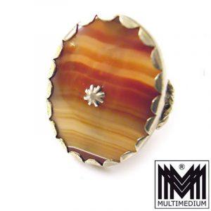 Großer Biedermeier Silber Ring Streifen Achat victorian silver agate