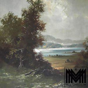Ernst Jugel München Am Attersee Öl gemälde Landschaft See Berge Öl bild Rahmen