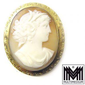 Antike Muschel Kamee Brosche Jugendstil Dame 1900 art nouveau shell cameo brooch