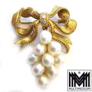 Rene Kern 750 Gold diamond pearl brooch vintage signed Brosche Diamanten Perlen