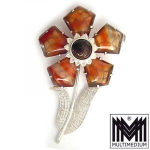 Große Art Deco Silber Brosche Achat Blume silver pin brooch agate flower rare