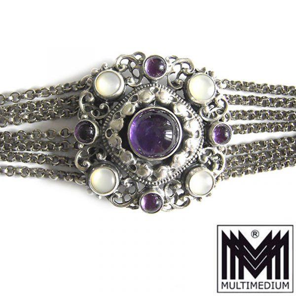 Silber Collier Gustav Hauber Amethyst Tracht en Halskette silver brooch