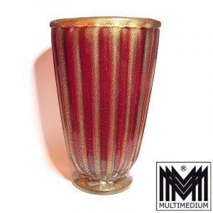 Große Vase Murano, signiert Alberto Donà wohl 80er Jahre rotes geripptes Glas