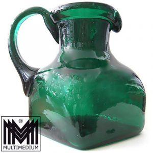 50s 60s XXL Glas Krug Vase Vetro Verde di Empoli grün glass jug vase