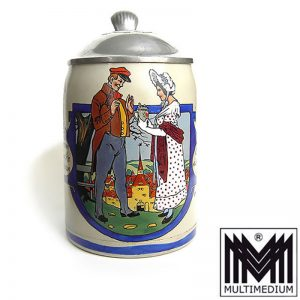 Steinkrug Bier krug Merkelbach Bei jedem Schlucke denke dran Emaillemalerei