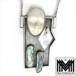 Silber Halskette mit Anhänger Maske Gesicht Handarbeit silver pendant mask face