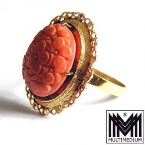585 er Gold Ring mit Koralle geschnitzt geschnitten Blumen 14kt coral flower