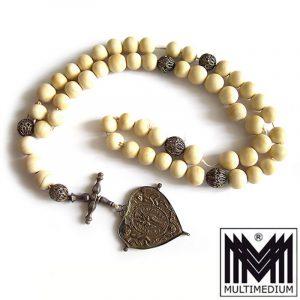 Antiker Barock Rosenkranz 18. Jhd Herz Silber Bein Knochen rosary silver pendant