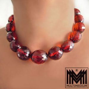 Art Deco roter Bakelit Bernstein Optik Halskette 20er cherry amber necklace 20s