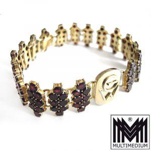 Granat Silber Armband vergoldet 20er Jahre silver gilt bracelet garnet