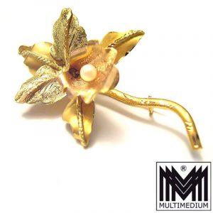 750 er Gold Brosche 18k Handarbeit gold brooch hand made Orchidee Orchid