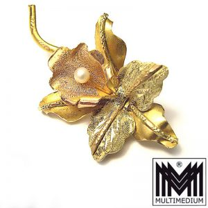 750 er Gold Brosche 18k Handarbeit gold brooch hand made Orchidee Orchid