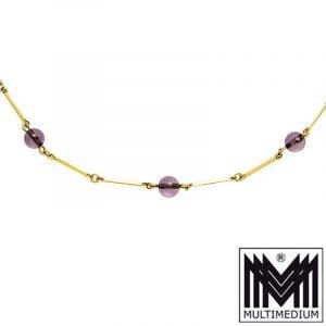 585er Gelbgold Kette mit Amethyst Kugeln gold necklace 14ct spheres