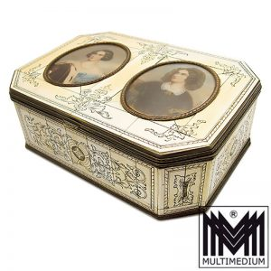 Antike Biedermeier Bein Schatulle Miniaturen Messing lila Samt bone box miniatures
