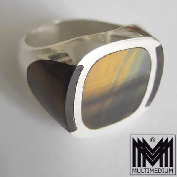 Taxco FDR Mexico Silver ring signed Pancho Modernist tiger`s-eye